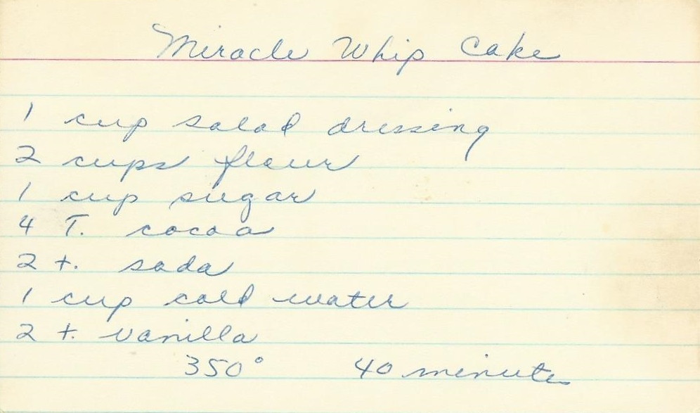 Recipe miracle whip chocolate cake