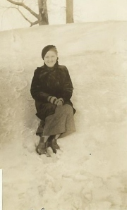 grandma in snow