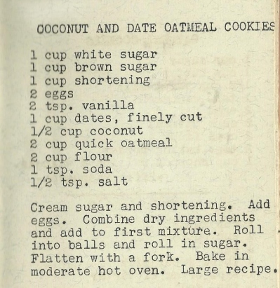 Coco ut and Date Oatmeal Cookies