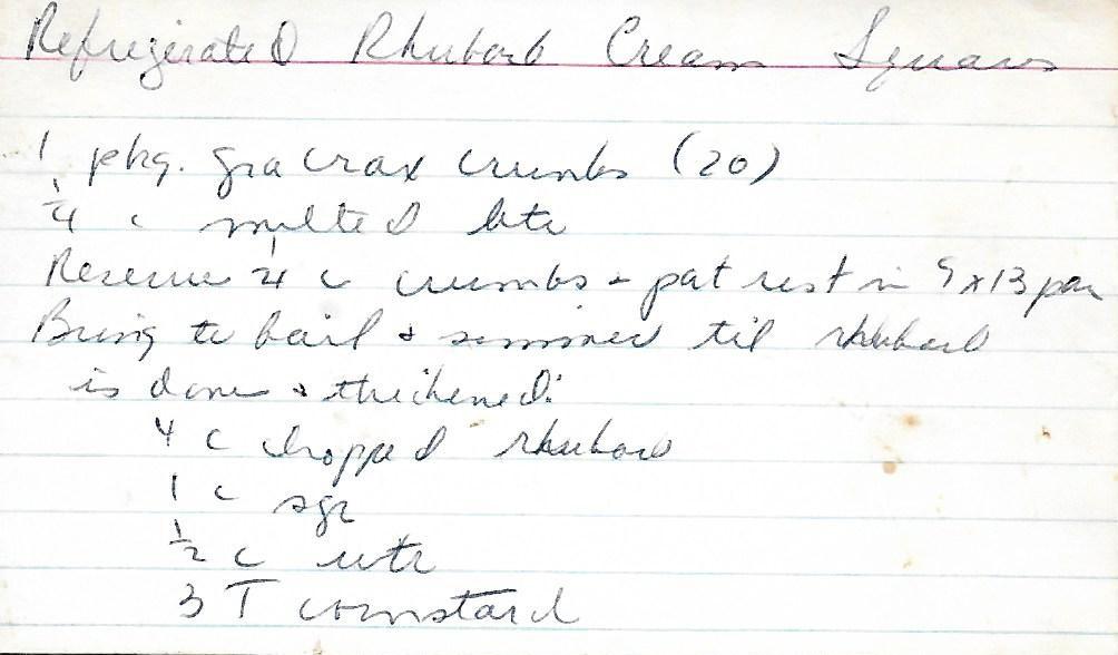 Refrigerated Rhubarb Cream Squares
